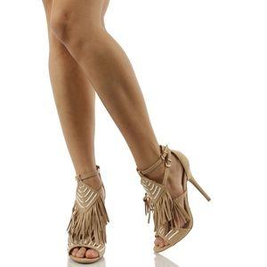 Shoes - Adele206 Natural Open Toe Aztec Fringe High Heel